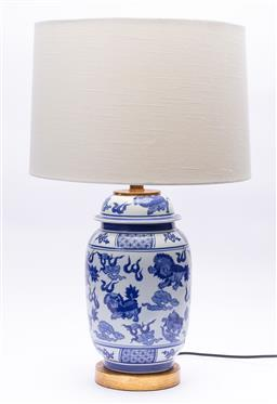 Sale 9245T - Lot 100 - A blue and white ceramic lamp with cream barrel shade, total H 62cm