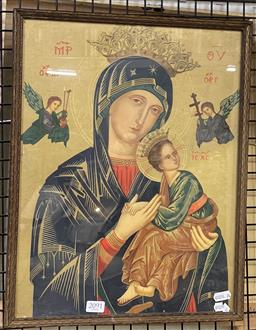 Sale 9163 - Lot 2091 - An antique Illuminated Chromolithograph of Our Lady of Perpetual Help