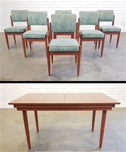 Sale 9188 - Lot 1063 - Vintage seven piece dining setting incl. six chairs and twin butterfly-leaf extension table (h:73 l:219 w:88cm)