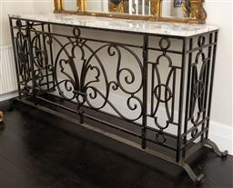 Sale 9248H - Lot 47 - A French wrought iron console with marble top, height 106 x width 250 x depth 51cm