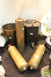 Sale 8365 - Lot 71 - Vintage Brass Sprayers with Other Metal Wares Incl. Oil Canister