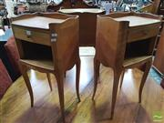 Sale 8416 - Lot 1079 - Pair of French Cherrywood Bedside Tables, each with a drawer, open shelf & cabriole legs