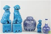 Sale 8563 - Lot 58 - Ceramic Dogs of Foo Together with Smaller Example, Blue and White Lidded Vase and Another