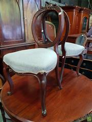 Sale 8576 - Lot 1035 - Set of Six Victorian Carved Walnut Balloon Back Chairs, with velvet seats & cabriole legs (one chair with damaged leg)