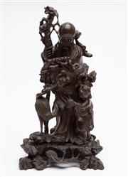 Sale 8590A - Lot 14 - A Chinese carved figure of Shou-Lao with attendant and crane with timber base, H 42cm, W of stand 22cm