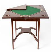 Sale 8620A - Lot 89 - An Australian Queensland maple envelope card table by Beard Watson, Sydney c. 1922. The sectional swivel top opening to reveal the b...