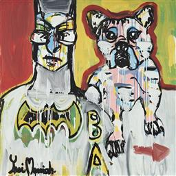 Sale 9157A - Lot 5025 - YOSI MESSIAH (1964 - ) Super Dog, 2020 mixed media on board (unframed) 85 x 85 cm signed lower left, dated and titled verso
