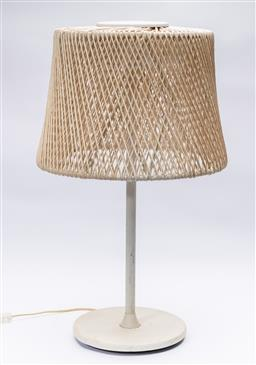 Sale 9239H - Lot 44 - An interesting modernist lamp, the metal base and riser supporting a double layered organic woven shade, height 75cm