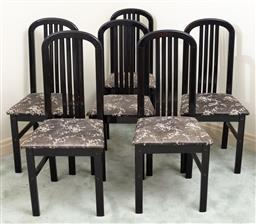 Sale 9190H - Lot 383 - A set of six dining chairs in back laminate, with cherry blossom upholstery, Height of back 102cm