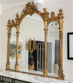 Sale 9248H - Lot 48 - An impressive gilt three panelled Antiquefrench overmantel mirror. Height180cm x width 183cm