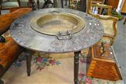 Sale 8093 - Lot 1705 - Antique Chinese Brazier Table with Removable Brass Centre Section & Metal Decoration