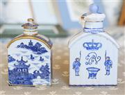 Sale 8250 - Lot 24 - A Chinese Export Porcelain Tea Caddy, modelled with a drop in lid in blue and white, gilt highlights And Another