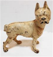 Sale 8272A - Lot 15 - A vintage French bulldog cast iron door stop with original paint. H 25 cm