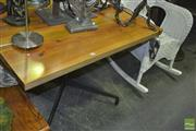Sale 8323 - Lot 1045 - Metal Base Timber Top Cafe Table