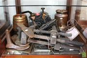 Sale 8365 - Lot 81 - Pair Of Timber Clamps With Other Vintage Wares Incl. Shoe Makers Anvil & Port Barrel