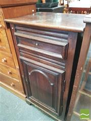 Sale 8428 - Lot 1082 - 19th Century French Walnut & Pine Small Cabinet, with single drawer & arched panel door