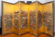 Sale 8590A - Lot 12 - A good possibly Edo six fold panel screen with various scenes from court life on a gold ground, H 167 x each panel W 63cm