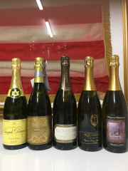 Sale 8677B - Lot 958 - Five bottles of sparkling wine including champagne Joseph Perrier, Clover hill Tasmania (antiques of birkenhead) etc