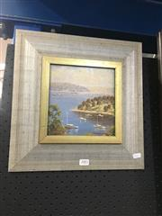 Sale 8690 - Lot 2002 - Werner Flilipich Taylors Bay oil on board, 3 x 36cm (frame) signed lower right