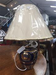 Sale 8839 - Lot 1342 - Pair of French Ceramic Table Lamps in Cobalt Blue with Gold Trim (3333)