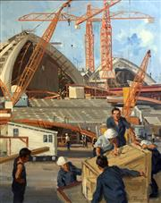 Sale 8849A - Lot 5006 - Henry Hanke (1901 - 1989) - Opera House under Construction, 1970 75 x 60cm