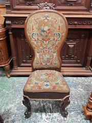 Sale 8917 - Lot 1037 - Victorian Rosewood High-Back Tapestry Chair, with arched top, with floral upholstery & cabriole legs