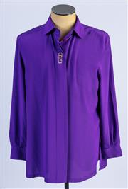 Sale 8926H - Lot 23 - A BASLER blouse with embroidery design to front panel in purple, size 38