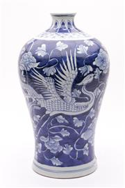 Sale 9032C - Lot 778 - Pheonix Decorated Meiping Shaped Blue And White Chinese Vase H:33cm