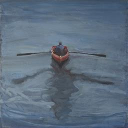 Sale 9096 - Lot 510 - Geoff Harvey (1954 - ) Rower No.1, 2001 oil on canvas 76.5 x 76 cm signed, dated and titled verso; Robin Gibson gallery label verso