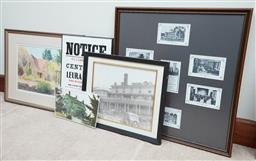 Sale 9103H - Lot 88 - Three framed items including a water colour The Gatehouse, Medlow Bath M Alnutt, photographic print of the Carrington and mounted...