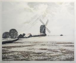 Sale 9123J - Lot 260 - Paul Bisson (English 1938-) Rolvenden Hill (Edition 56/175) Coloured etching Height 27cm x Width 16cm Framed Size: Height 28cm x Wid...