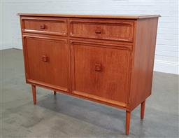 Sale 9188 - Lot 1177 - Teak elevated sideboard with two drawers & doors (h:97 x w:127 x d:47cm)