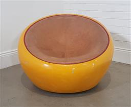 Sale 9188 - Lot 1236 - Plastic moulded tub chair in yellow (h65 x d77cm)