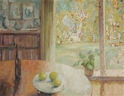 Sale 9214 - Lot 520 - JEAN APPLETON (1911 - 2003) Interior with Garden Beyond oil on board 84.5 x 110 cm (frame: 95 x 120 x 4 cm) signed lower right, Macq...