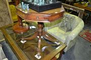 Sale 8093 - Lot 1380 - Leather Top Hexagonal Occasional Table