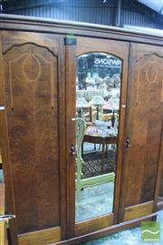 Sale 8326 - Lot 1735 - Oak Wardrobe with Inlaid Front and Central Mirror