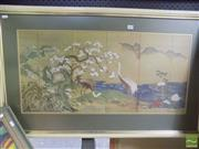 Sale 8513 - Lot 2046 - Japanese Screen Decorative Print (frame size: 64 x 28cm)