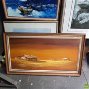 Sale 8636 - Lot 2043 - H. Auger - Yellow Countryscape, Oil on Board, SLR