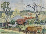 Sale 8722A - Lot 5068 - William Torrance (1912 - 1988) - Country Home with Washing 27 x 37cm