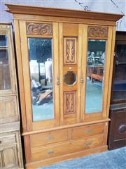 Sale 8740 - Lot 1190 - Timber Wardrobe with Mirrored Doors