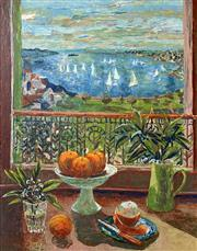 Sale 8849A - Lot 5007 - Margaret Olley (1923 - 2011) - Still Life and Ruschutters Bay, 1997 91.5 x 70.5cm