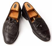 Sale 9080F - Lot 94 - A PAIR OF BALLY LOAFERS; in black leather size 8.5 (shoe last included)