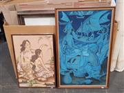 Sale 9045 - Lot 2044 - Balinese School (2 works), Fishermen & Two Girls Bathing, frame: 91 x 60 cm & 65 x 46 cm,