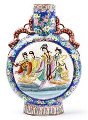 Sale 9083N - Lot 39 - A Chinese moonflask in brigh enamels with qinglong handles, with musicians and dancers. marked  to base. Height 40 cm