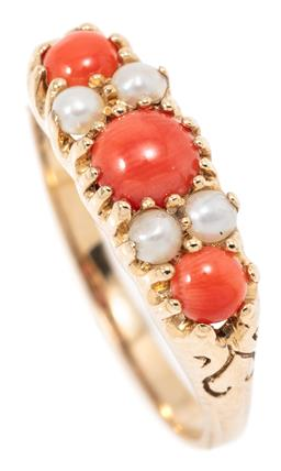 Sale 9164J - Lot 435 - A VICTORIAN STYLE CORAL AND PEARL RING; belcher set in 9ct gold with 3 cabochon corals and 4 seed pearls, size N1/2, width 6mm, wt....