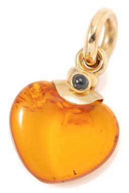 Sale 9156J - Lot 501 - AN 18CT GOLD AMBER HEART PENDANT; reconstituted amber heart 19 x 18mm, surmounted by a small cabochon sapphire length 32.5mm.