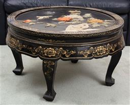 Sale 9190H - Lot 385 - A Chinese circular stone and mother of pearl inlaid ocassional table, damaged, Diameter 76cm Height 48cm