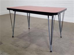 Sale 9188 - Lot 1631 - Vintage metal based dining table with 6 moulded plastic chairs (h:78 x w:122 x d:81cm)