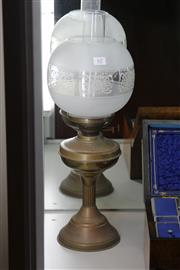 Sale 7998 - Lot 62 - Brass Kero Lamp with Glass Shade