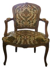 Sale 8258A - Lot 46 - Pair of Louis XV style fauteuils with traditional French fabric in good condition, frames are beech, RRP $550 each